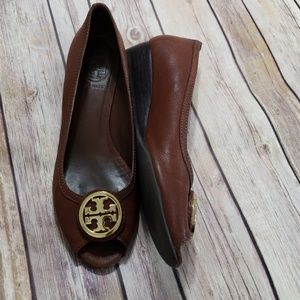 Tory Burch brown leather peep toe wedges